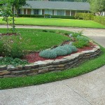 Retaining wall and bed.  We planted a red bud tree in the middle.