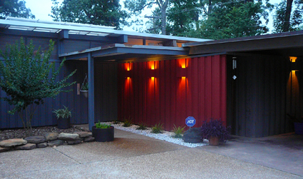 Entrance to house at dusk.  The lights Richie repaired look so awesome at night.