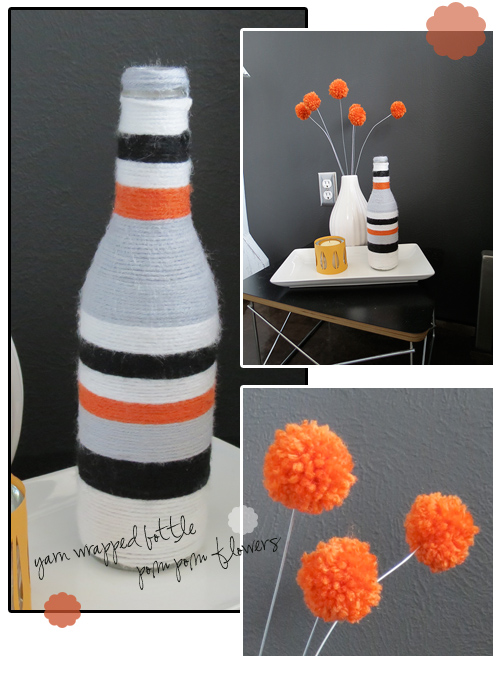 yarn poms and bottle